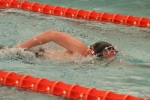 Cole Davidson, a sophomore on the Huntington North High School boys' swim team, competes in the 500-yard freestyle during the preliminaries of the Warsaw Sectional on Thursday, Feb. 14. Davidson qualified for the consolation finals with a 13th-place finish in 5:53.51.