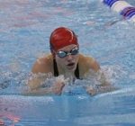 Huntington North freshman Mya MacAleese swims the breaststroke leg of the 200-yard individual medley at the Jay County Swimming and Diving Sectional on Friday night. MacAleese finished sixth in the event.