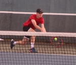 Matt Karst, a senior on the Huntington North High School boys' tennis team, lowers his racket to the ball during his match at second singles in the opening round of the Norwell Sectional on Wednesday, Sept. 27. Karst was defeated, 0-6, 3-6, as were the Vikings, 1-4, ending their season.