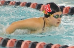 Huntington North High School varsity swimmer Jamison Heyde competes in the 100-yard backstroke on Tuesday, Jan. 12, at the Huntington Parkview Family YMCA. HN won out over their guests, Wabash High School.