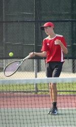 Returning the ball to his East Noble opponent is Huntington North High School junior varsity tennis player Max Fusselman. Fusselman scored 8-3 in his match against East Noble. In overall play, the Vikings won out over East Noble, adding another NE8 win to the books.