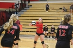 Returning the ball to her Blackhawk Christian High School opponent on Thursday, Sept. 10, is Huntington North High School junior varsity volleyball player Madi Ptak. The junior varsity team won their first match against Blackhawk Christian with a score of 25 to 13, but fell to their opponents in the next two sets.