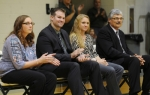 Huntington University inducted alumni (from left) Lauren (Ward) Dove, Andrew Drummond, Lauren (Davenport) Johnson and Doug Carver into the Forester Athletic Hall of Fame on Saturday, Nov. 14, at the Habecker Dining Commons.