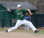 Huntington University pitcher Tanner Wyse strides forward as he prepares to unleash a pitch to a Mount Vernon Nazarene University batter on Wednesday afternoon, March 29, at Forest Glen Park. Wyse threw seven shutout innings to lead the Foresters to a 6-0 win.