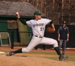 Huntington University pitcher Tanner Wyse gets ready to fire one home against visiting Spring Arbor University on Friday afternoon, March 24. Wyse got the win as the Foresters triumphed 10-6.