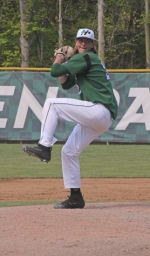 Mason Shinabery, a freshman on the Huntington University baseball team, winds up for a pitch in a Crossroads League Tournament game against Bethel College on Saturday, May 6, at Forest Glen Park. Shinabery limited the Pilots to four hits in seven innings to help the Foresters post an 11-1 win.