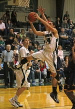 Huntington University's Kyle Pipenger leaps to the hoop in the first half of a game against visiting Marian University on Saturday, Jan. 24.