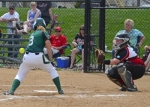 Huntington University batter Natalie McGuire gets plunked by a pitch in the first game of a doubleheader against visiting Grace College on Saturday, April 18. The Foresters dropped the first game but rallied back in the second to earn a split on the day.