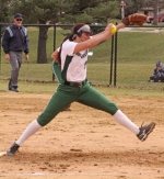 Huntington University pitcher Lairen Miller winds up to deliver a pitch in the first game of a doubleheader against visiting Mount Vernon Nazarene University on Tuesday, March 21. MIller pitched a three-hitter as the Foresters swept the Cougars.