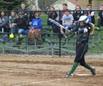 Huntington University hitter Alyssa Hiple drives the ball in the first game of a doubleheader with visiting Bethel College on Friday, April 29. The Foresters won both games.