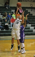 Huntington University forward Amelia Recker tallies two of her 35 points against Olivet Nazarene University on Saturday, Dec. 13, at Platt Arena. The Foresters erased a 25-point deficit to win 124-106.