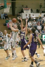 Huntington University women's basketball player Ryleigh Carr goes in for two points during the Mid-Central College Conference Tournament championship game against Taylor on Monday, March 3.