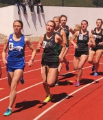 A quartet of members from the Huntington University women's track team compete in the 1,500-meter run at the HU Invitational on Saturday, April 8. Pictured are (starting at second from left) Aspen Dirr, Kelsey Graber, Bianca Tisdale and Rachael Smelser. Dirr posted the best finish of the four, placing fourth in 5:16.28.
