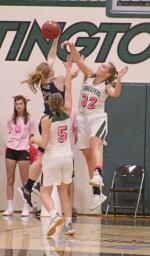 Huntington University defender Brooke Saylor tries to stop this drive by Kayla Hovorka of Mount Vernon Nazarene University in action Saturday afternoon, Feb. 2, at Platt Arena. The Foresters used a late comeback to win, 68-66.