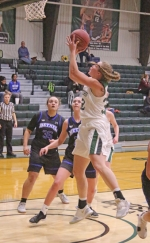 Huntington University forward Brooke Saylor lays the ball in for two points during the Foresters' regular season finale at Platt Arena on Saturday, Feb. 16. HU held off a big Bethel rally for a 71-69 win.