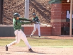 Huntington University hitter Daniel Lichty smacks an RBI-double in the first game of a Forester sweep of visiting Grace College on Friday, March 23.