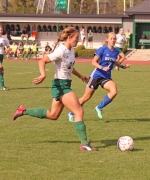 Huntington University midfielder Audra Klopfenstein charges downfield with the ball during the Foresters' 3-1 win over visiting Bethel at King Stadium on Saturday, Oct. 21.
