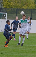 Huntington University defender Josh Erlandson heads the ball forward during play against Mount Vernon Nazarene University on Wedneday afternoon, Oct. 16, at King Stadium. The Foresters won, 2-0.
