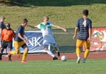 Huntington University forward Luke Unger maneuvers against a pair of Spring Arbor University defenders in action Wednesday afternoon at King Stadium. Unger later scored by HU lost 2-1.
