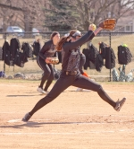 Lairen Miller, a sophomore on the Huntington University softball team, winds up for a pitch in the first of two games against visiting Indiana Tech on Thursday, March 22. The Foresters swept the Warriors, 4-3, 8-5.