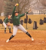 Huntington University pitcher Meghan Fretz goes through her wind-up in first game action of a doubleheader against visiting Grace College on Friday, March 29. The Foresters split the twinbill.