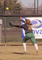Huntington University left fielder Karley Blankenship lunges for the ball in action against visiting Spring Arbor University on Friday, March 23. The Foresters split a pair of games.