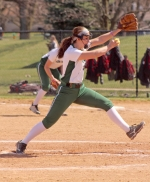 Huntington University pitcher Lairen Miller starts her delivery in the first game of a doubleheader against visiting Indiana Wesleyan University on Friday, April 20. HU dropped both games.