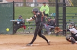 Huntington University hitter Casey Lehman gets bat on ball during the Foresters' doubleheader against visiting Grace on Tuesday, April 24. Lehman had five hits on the day as HU split.