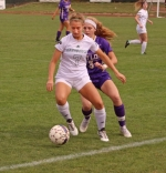 Huntington University defender Ashtyn Patrick controls the ball against a Taylor University player in action Saturday afternoon, Oct. 19, at King Stadium.