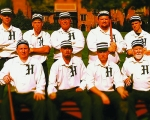 "The Champion Hill Toppers open their 11th season of vintage base ball on Saturday, April 25, with a 1 p.m. game at Lake Clare. Team members include (front row, from left) ""Beans"" Meyer, ""Splinter"" Redner, ""Lightfoot"" Cox and ""Weege"" Bugge; and (back row, from left) ""Toots"" Redner, ""Dodger"" Rowe, ""Judge"" Young, ""Pops"" Wiegmann and ""Youngblood"" Cox."