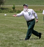 "Gerald ""Grizz"" Cox, of the Huntington Champion Hill Toppers, pitches in a vintage base ball game against the visiting Rochester Grangers on Saturday, July 16, at Olde Republic Field. The two clubs also played the visiting Bay City Independents."