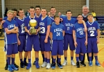 The state champion basketball team from Emmanuel Christian School, in Wabash, includes (front row, from left) Davis Coyne, Jeff Miller, Levi Hinds of Huntington, Jaxton Coyne, Preston Ritzema and Tyler Kline of Warren; and (back row, from left) Keanu Rish, Jonathan Napier, Jordan Rish, Ariston Trusty, Trey Younce and Coach Merrill Templin.