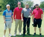 The team from State Farm Insurance scored a 49 to win the 25th annual Pathfinder Kids Kampus Golf Outing, held May 18 at Norwood Golf Club, in Huntington. Team members are (from left) Patrick Klein, Tyler Sizelove, Jake Stroup and Corey Stephans. Over $11,000 was raised at the event for Kids Kampus.
