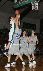 Huntington University freshman Colin Featherston shoots the ball in traffic against third-ranked Bethel on Thursday, Jan. 7. The Foresters lost 98-91.