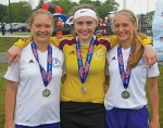Huntington County residents (from left) Amaya Sunderman, Megan Gilpin and Karmen Koch recently helped their Fort Wayne Sport Club soccer team to the 2015 President Cup State championship.