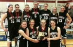 The Huntington Lady Eagles varsity girls' homeschool basketball team earned second place at the Indiana Christian Basketball Alliance Girls' State Basketball Tournament at the Gathering Place in Greenwood on Friday and Saturday, March 5-6.
