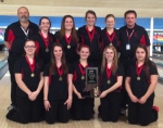 The Huntington North girls' bowling team defeated Bluffton, 415-353, to win the girls' team sectional title on Tuesday, Jan. 20. Team members are (front row from left) Rachel Fields, Kylie Kaiser, Caila Kline, Mackenzie Faurote, Elizabeth Manes and (back row from left) Coach Bob Gottschalk, Manager Kenzie Prickett, Manager Karli Cannici, Alexis Aldred, Aniah Aldred and Coach Mel Fruit Jr.