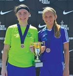 Huntington County residents Megan Gilpin (left) and Karmen Koch helped lead the Fort Wayne Sports Club Strikers U16 girls' soccer team to a 3-0-1 record at the Region II President's Cup, a tournament that ran from June 16 to 20 at Grand Park Sports Complex, in Westfield. With their performance at the tournament, the Strikers earned a trip to the National Presidents Cup, set for July 14 to 17 in Tulsa, OK, for the first time ever.