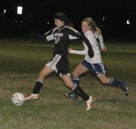 Lady Viking forward Reagan Valenzuela attacks with the ball during the HNHS sectional game against Norwell on Tuesday, Oct. 13, at Marion. Valenzuela earlier scored the Lady Vikings' first goal in a 2-1 win.