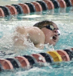 Huntington North High School varsity swimmer Blake Anson competes in the 200 Free race against Manchester High School on Tuesday, Dec. 22, at the Huntington Parkview Family YMCA.
