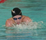 HNHS swimmer Skyler Ruschhaupt shows winning form in the 100-yard breaststroke on Saturday, Jan. 10, against visiting Muncie Central.