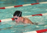 Lady Viking swimmer Cassie Hacker charges ahead during her 200-meter individual medley race on Thursday, Dec. 3, against visiting Fort Wayne Snider. The Huntington North High School girls were crushed 137-49.