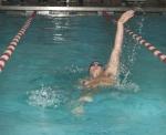 Senior Skyler Ruschhaupt swims the backstroke leg of hte 200-yard invidual medley at the Huntington North High School boys' swim meet against visiitng Warsaw on Wednesday, Dec. 9. Ruschhaupt won the race but the Vikings lost the meet.