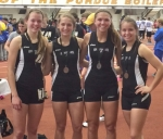 The Lady Viking distance medley relay team of (from left) Hannah Stoffel, Karmen Koch, Stephanie McElhaney and Marissa Jamison placed eighth at the Hoosier State Relays 4A/5A/6A finals at Purdue University on Saturday, March 21, to earn medals.