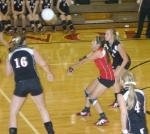Lady Viking Morgan Broderick bumps a serve up into the air during the Huntington North High School varsity volleyball game against visiting Homestead on Wednesday, Sept. 16. The Lady Vikings won the match in four games.