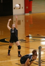Huntington North High School junior varsity volleyball player Laura Daronatsy serves one up to visiting Bluffton on Wendesday, Sept. 2.
