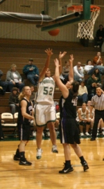 Huntington University women's basketball player Courtney Beerbower goes up in traffic for two of her 16 points against visiting Goshen on Saturday, Jan. 9.