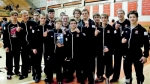 The Huntington North High School varsity wrestling team won the Warsaw Invitational on Saturday, Nov. 21. Team members are (from left) Adrien George, Christian Graft, Sam White, Jacob Hall, Jeremiah Gardner, Ethan Gates, Juan Arnz (partially hidden), Manager Cylie Collins, Zack Johnson, Eli Parrett, Logan McQuinn, Gavin Rosen, Ricky Haught, Chandler Updike and Gage Bustos.