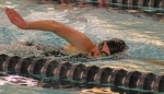 Huntington North's Alyssa Brinkman strokes her way to victory in the 500-yard freestyle against Wabash on Tuesday, Jan. 10, at Parkview Huntington Family YMCA. The Lady Vikings slammed the Apache girls, 115-55.