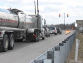 Motorists in Huntington deal with a temporary lane closure of Ind.-5 across the J. Edward Roush Lake dam on Monday, April 1.